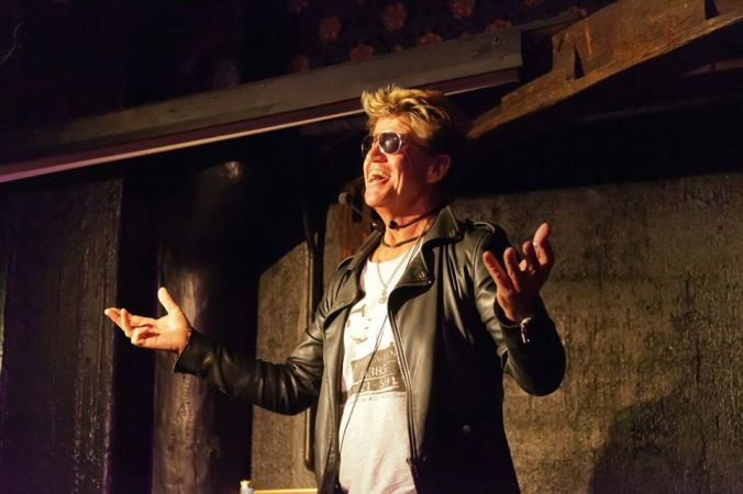 Robin Askwith on stage at The Phoenix Artist Club