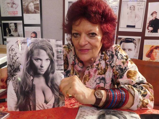 Dana Gillespie with a photo of herself