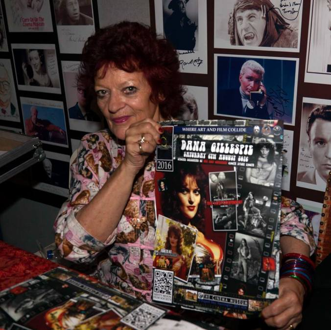 Dana Gillespie with the poster designed for her by Ronnie Clark