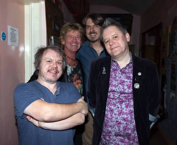 Misty Moon Techie Jason Read, Robin Askwith, Special Guest MC Simon Sheridan & The Curator at the final Askwith gig in 2015 @ The Cinema Museum