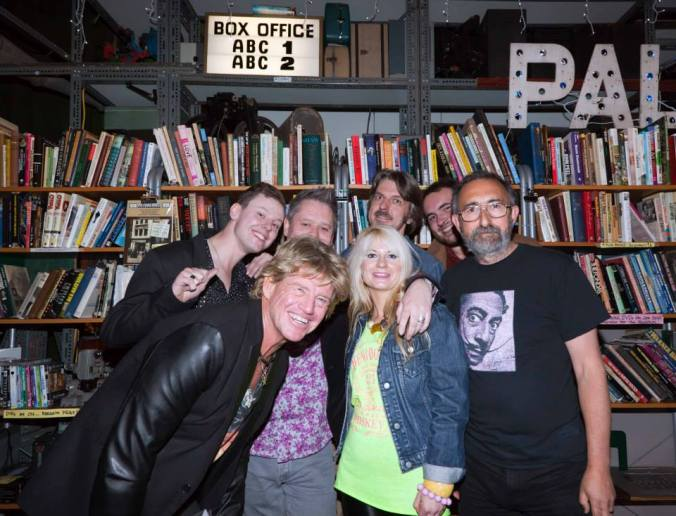 A rare shot of Misty Moon photographer John Gaffen with Robin Askwith and the gang