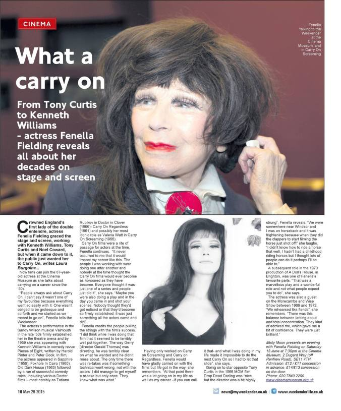 Fenella Fielding Interview By Laura Burgoine - The Weekender 29/05/2015