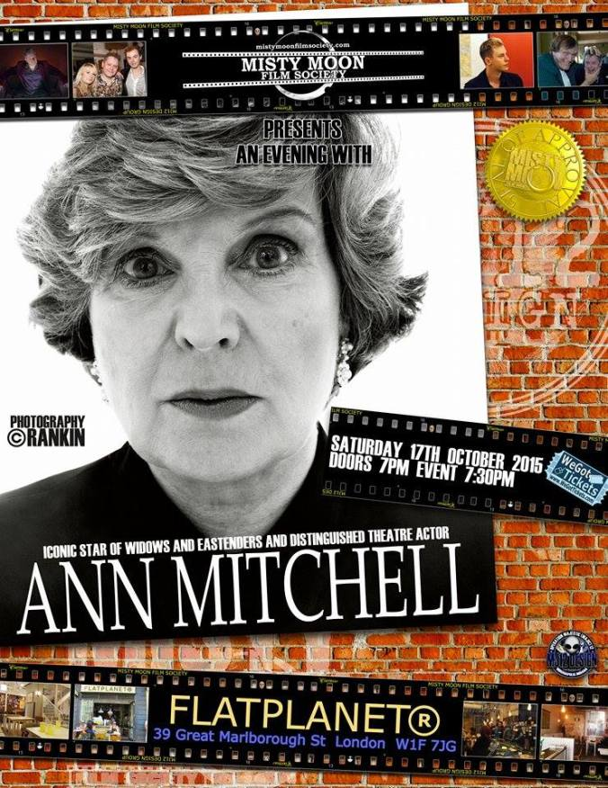 An Evening With Ann Mitchell. Poster designed by Ronnie Clark. Photograph copyright Rankin http://www.wegottickets.com/event/323924