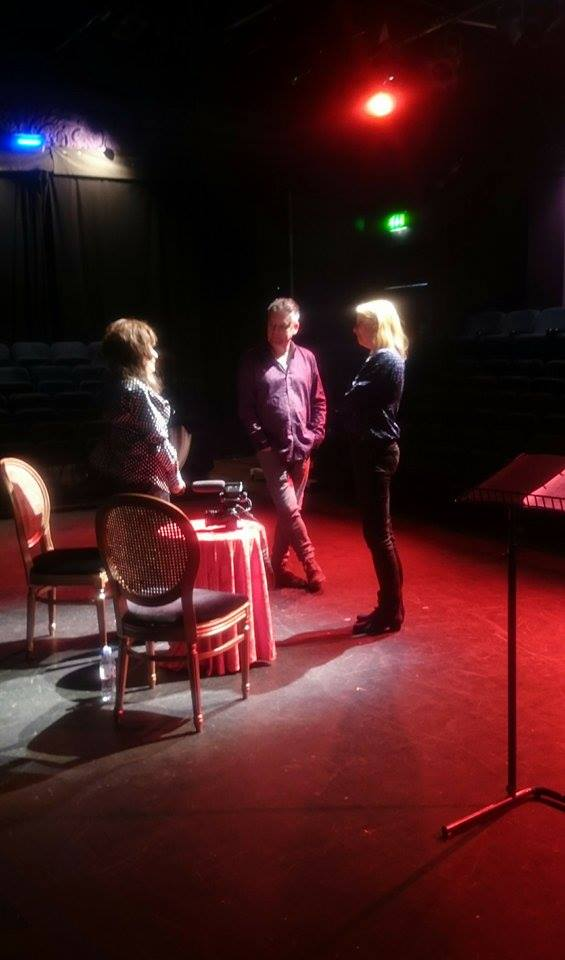 Rehearsing and sound checking with Fenella Fielding