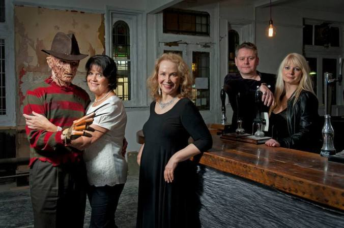 Happy Halloween From The Misty Mooners. Freddy, Sally Geeson, Rutanya Alda, The Curator & Jen Morriss.  Photograph by John Chase
