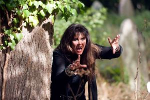 Clarissa aka Caroline Munro disturbing the residents